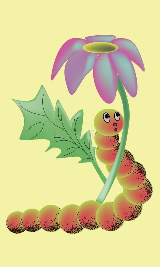 Lagarta dos desenhos animados sob o vetor da flor ilustração royalty free