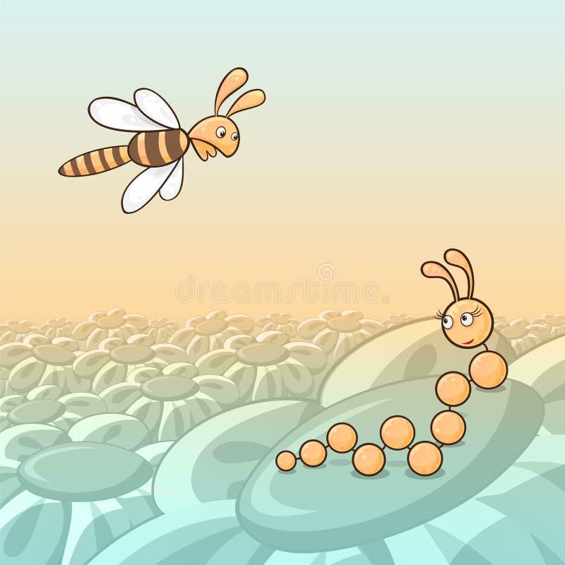Lagarta e abelha ilustração royalty free