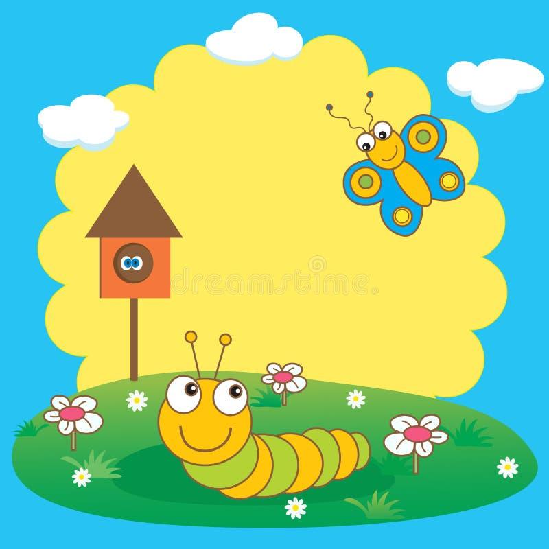 Lagarta e borboleta. ilustração royalty free