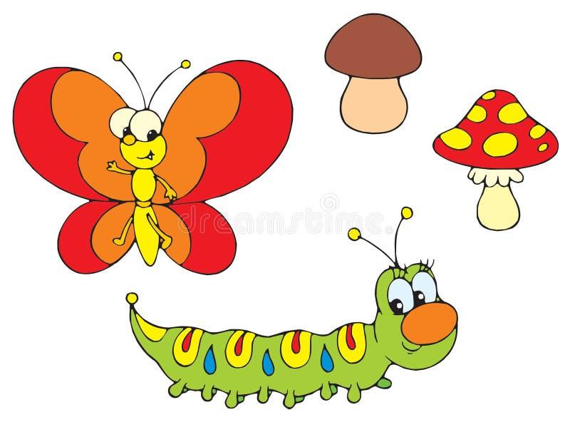 Lagarta e borboleta ilustração royalty free