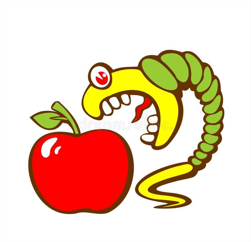 Lagarta e maçã ilustração do vetor