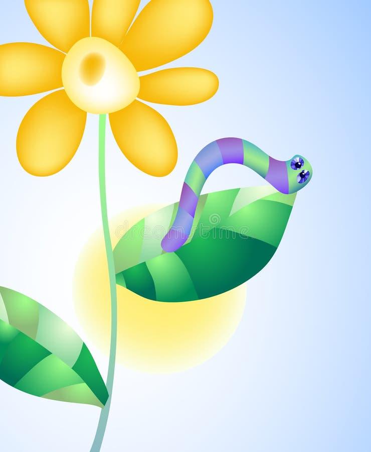 Lagarta em uma flor ilustração do vetor