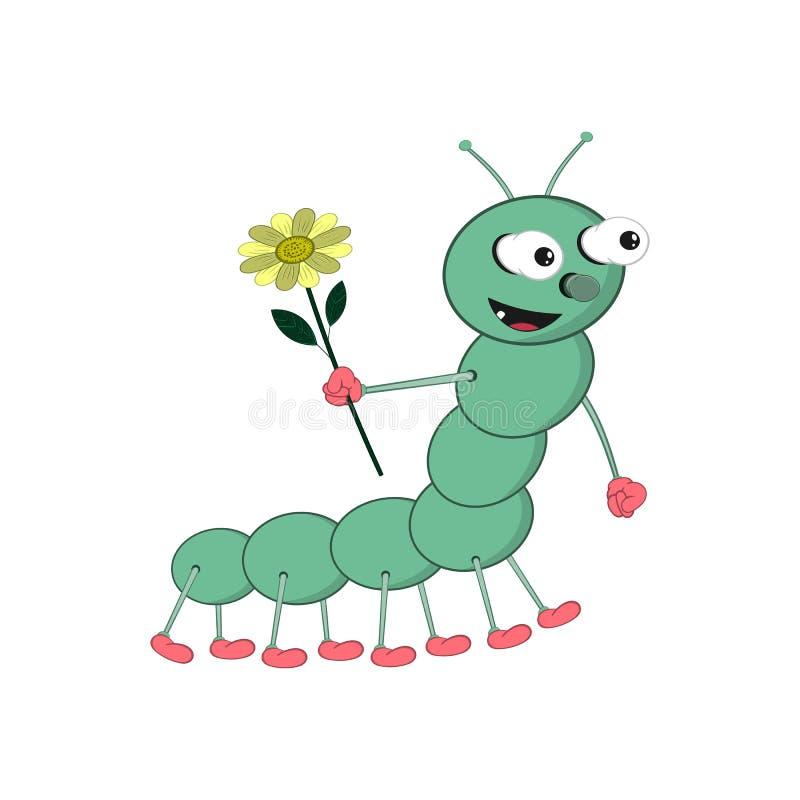 A lagarta engraçada do verde dos desenhos animados está guardando uma flor amarela em no sua mão e sorriso foto de stock