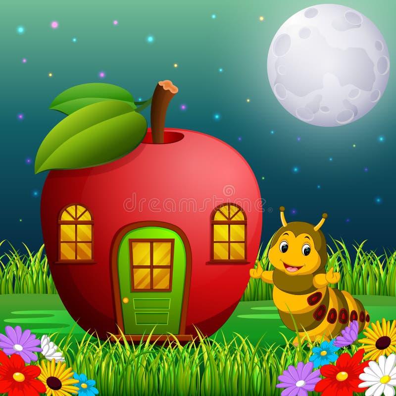 Lagarta engraçada e uma casa da maçã na floresta ilustração do vetor