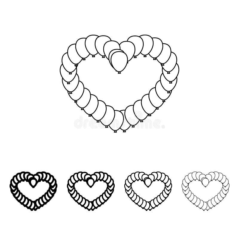 lagarta na forma do ícone do coração no estilo diferente da espessura Um do ícone da coleção do Valentim pode ser usado para UI,  ilustração stock
