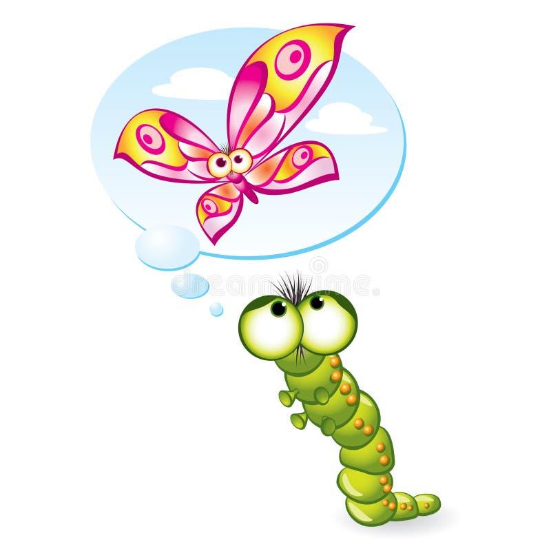 A lagarta quer transformar-se uma borboleta ilustração royalty free
