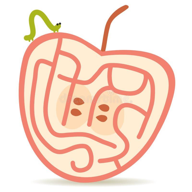 Lagarta verde e maçã cor-de-rosa ilustração royalty free