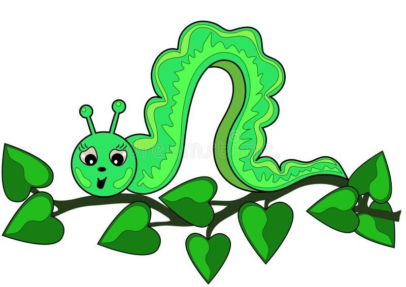 Lagarta verde em uma filial com folhas ilustração stock