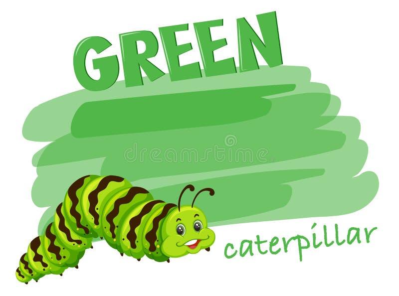 Lagarta verde na cor da pintura ilustração stock