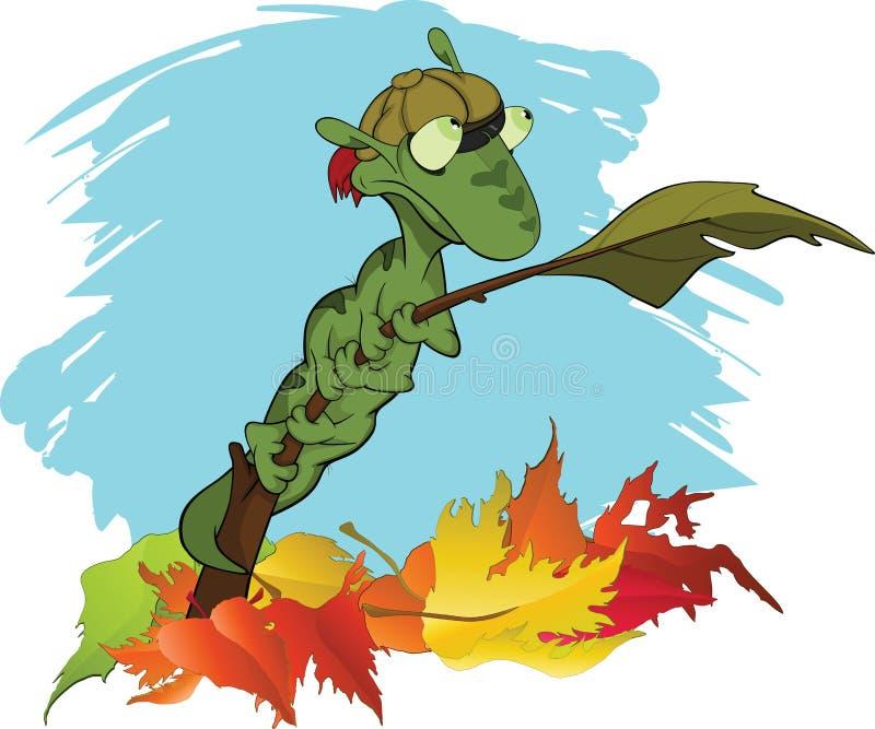 Lagarta verde pequena em uma filial. Outono. Carro ilustração do vetor
