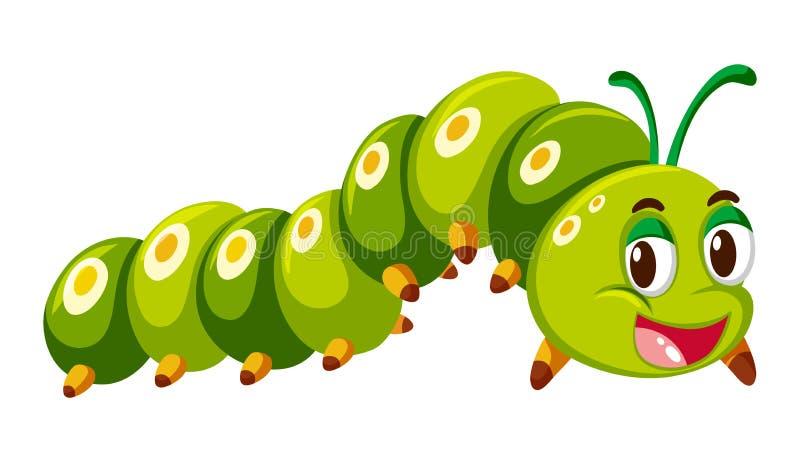Lagarta verde que rasteja no fundo branco ilustração royalty free