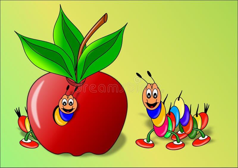 Lagartas, e maçã ilustração do vetor