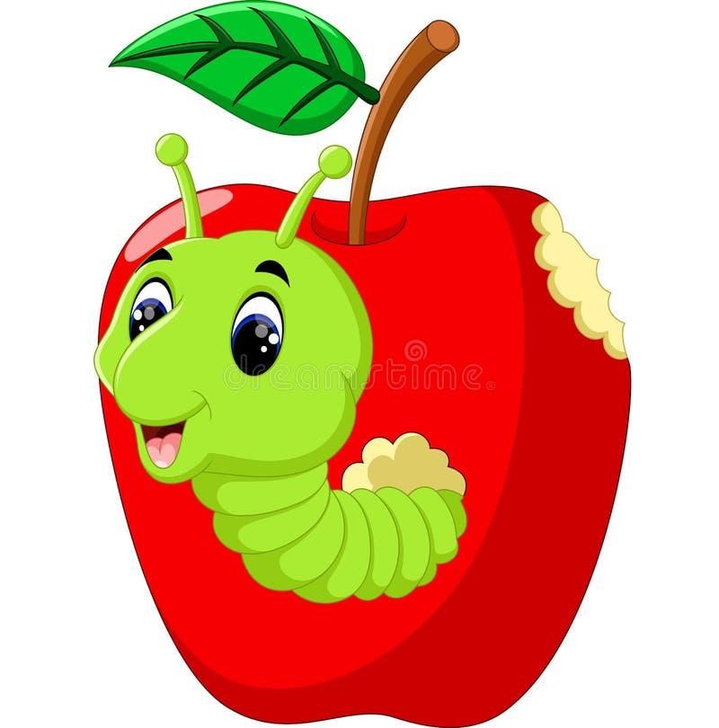 Lagartas engraçadas em uma maçã ilustração do vetor