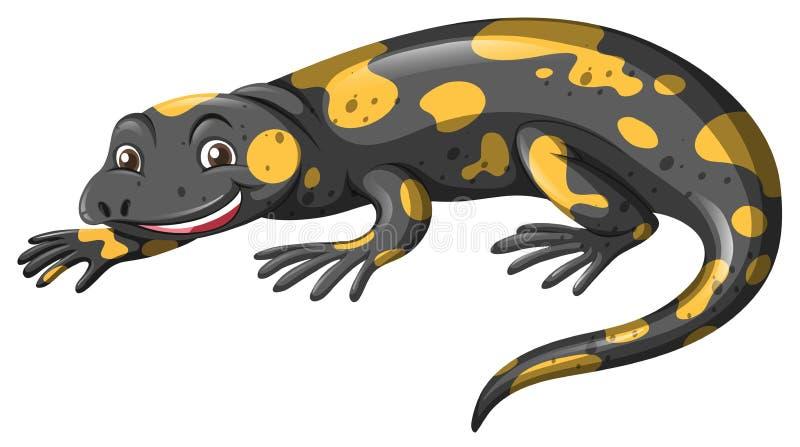 Lagarto con la piel negra y amarilla ilustración del vector
