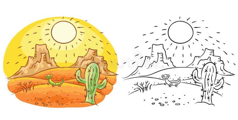Lagarto dos desenhos animados e cacto no deserto, desenho dos desenhos animados, colorido e preto e branco ilustração do vetor
