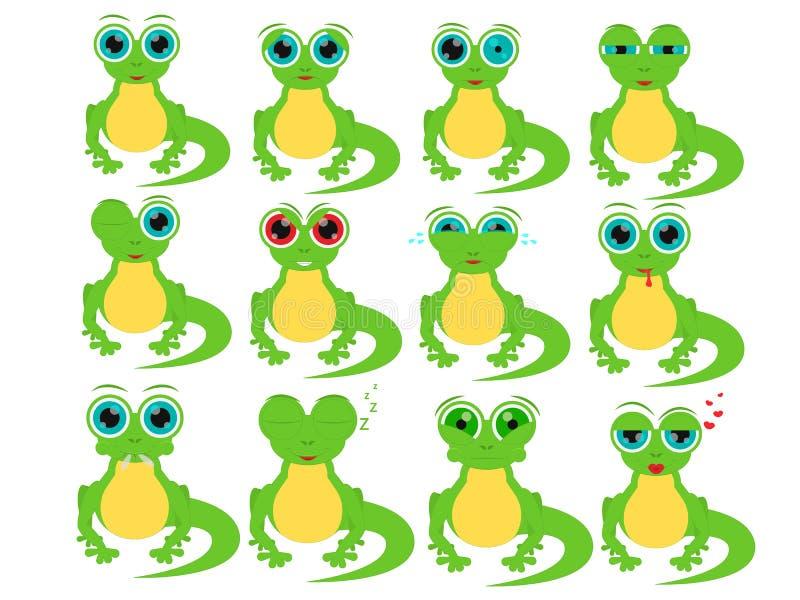 Lagarto dos desenhos animados em emoções sociais diferentes fotos de stock