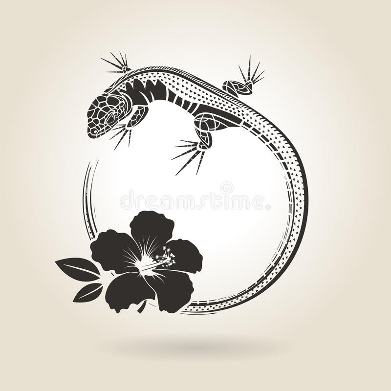 Lagarto e hibiscus ilustração stock