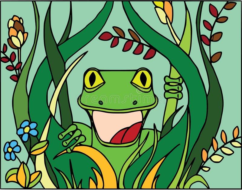 Lagarto sorprendido en los arbustos Modelo plano del estilo, personajes de dibujos animados, animales divertidos, coloreando en b stock de ilustración