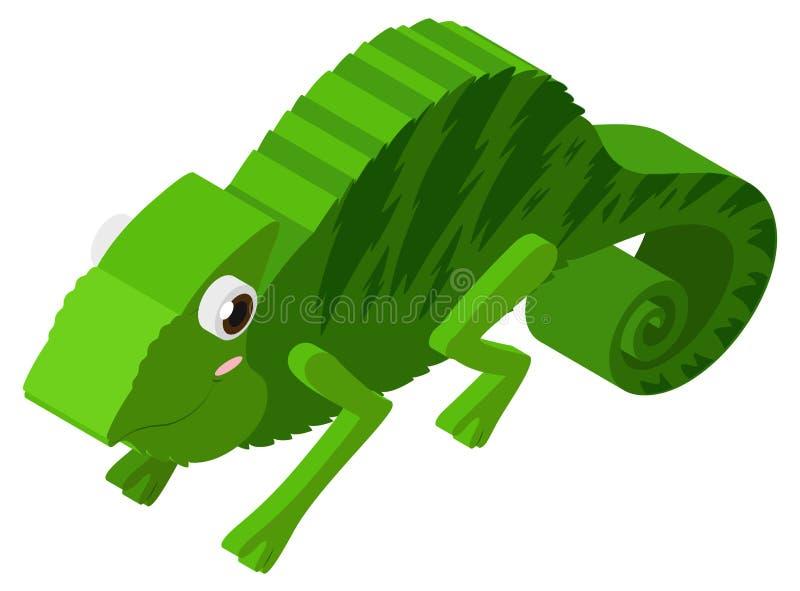 Lagarto verde no projeto 3D ilustração stock
