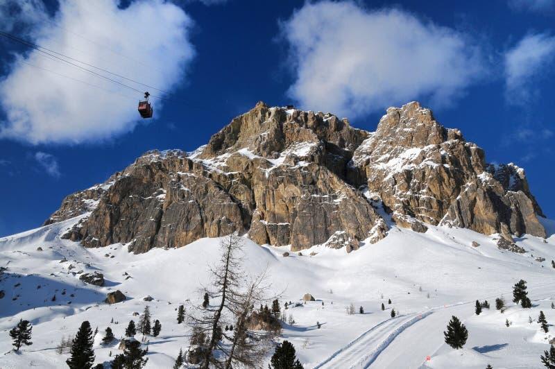 Lagazuoi mountain as seen from Passo Falzarego in winter, Dolomites, Cortina d`Ampezzo, Belluno, Veneto, Italy. royalty free stock images