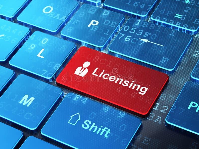 Lagbegrepp: Affärsman och licensera på stock illustrationer