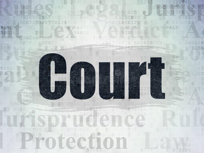 Lagbegrepp: Domstol på pappersbakgrund för Digitala data stock illustrationer