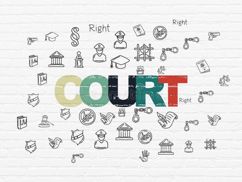 Lagbegrepp: Domstol på väggbakgrund stock illustrationer