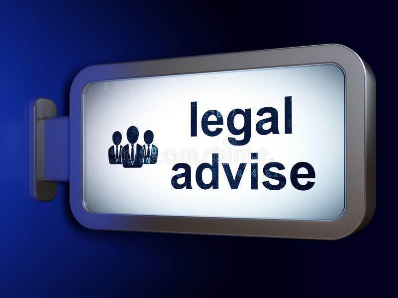 Lagbegrepp: Lagligt råd och affärsfolk på affischtavlabakgrund stock illustrationer