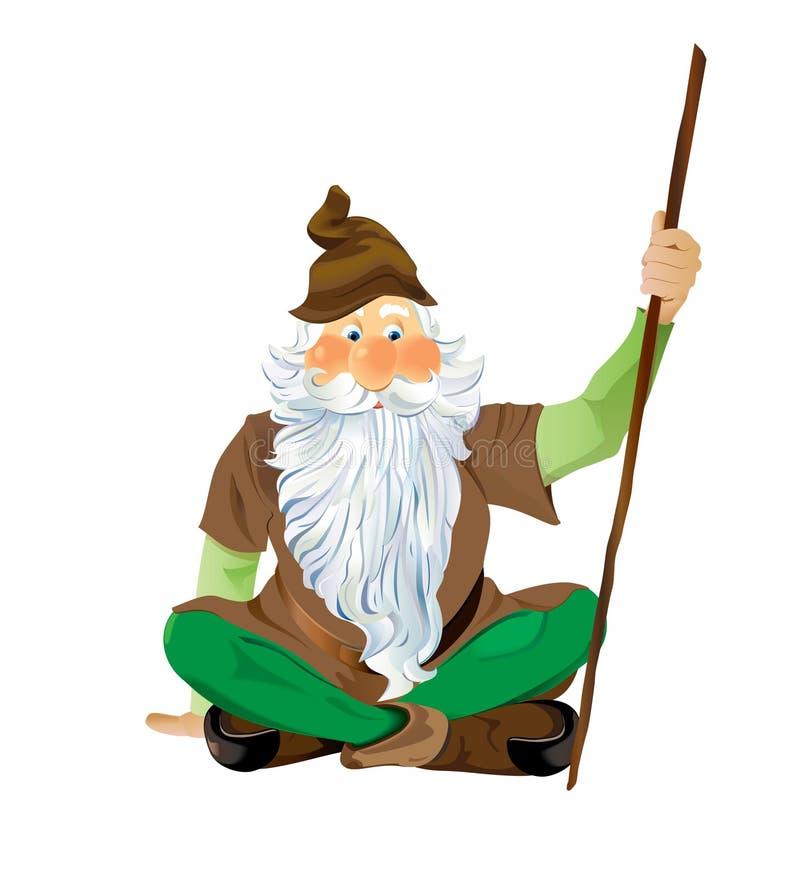 lagd benen på ryggen sittande vektor för kors eps10 trädgårds- gnome stock illustrationer