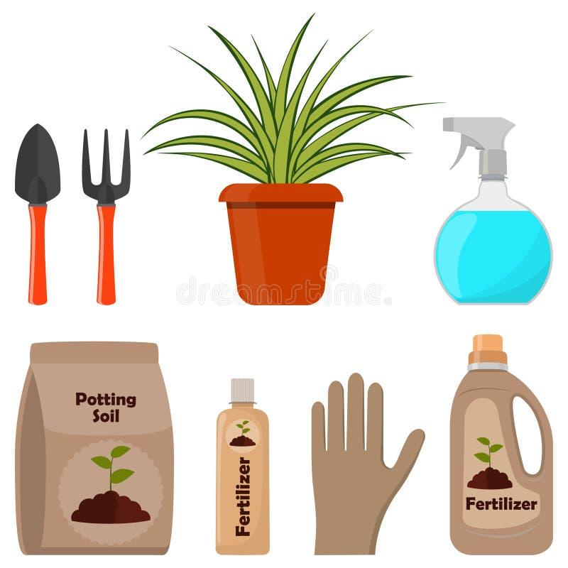 lagd in växt Lägga in jord, olika gödningsmedel i flaskor och sprutpistolen som arbeta i trädgården hjälpmedel Vektorillustration vektor illustrationer