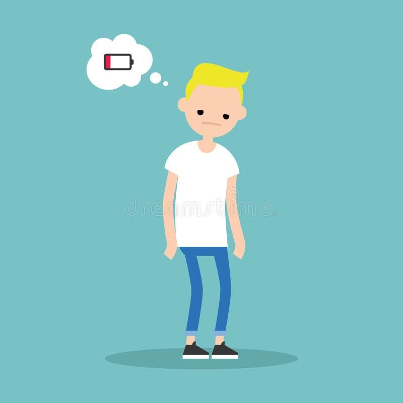 Lage batterij conceptuele illustratie jonge uitgeputte blonde jongen vector illustratie