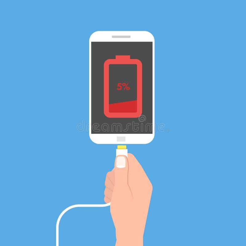 Lage batterijsmartphone Vlakke stijl royalty-vrije illustratie