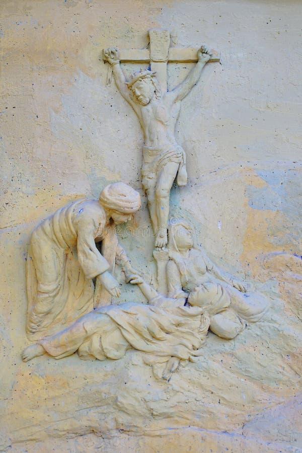 Lage hulp van Jesus Christ Crucified in Phitsanulok-School, Thailand royalty-vrije stock afbeelding