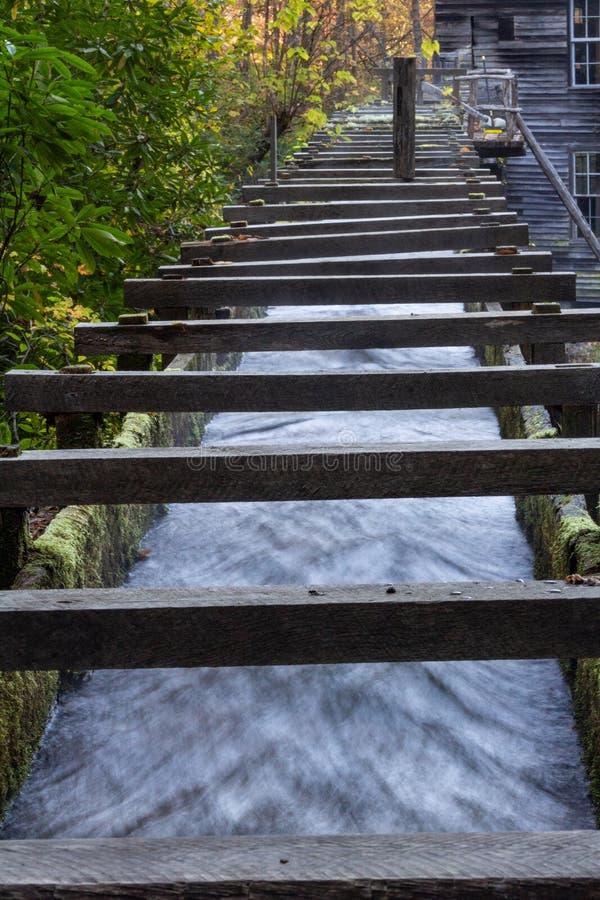 Lage mening van een houten ommuurd sluis channeling water naar een oude molen royalty-vrije stock fotografie
