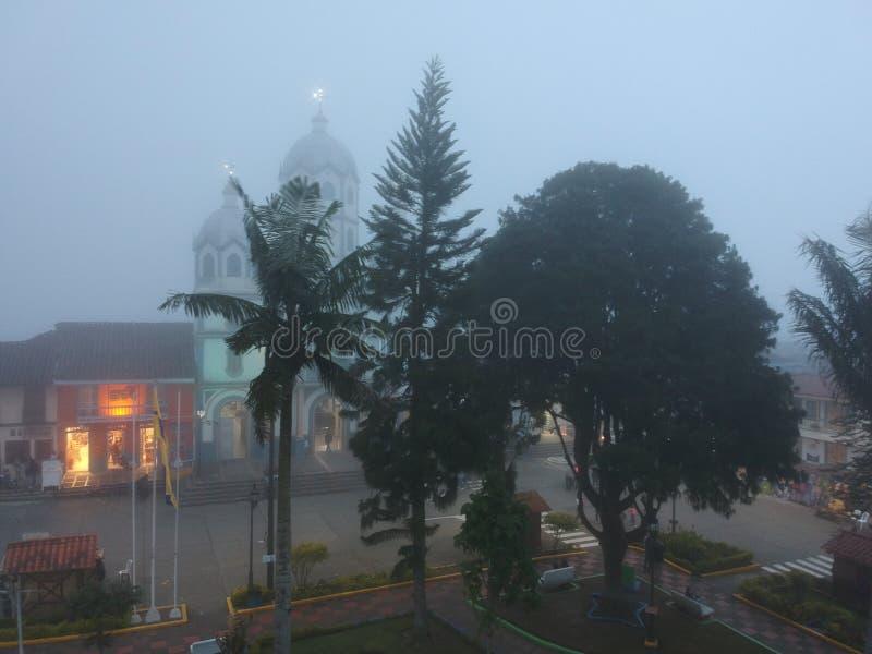 lage nevel in filandia Quindio Colombia royalty-vrije stock foto
