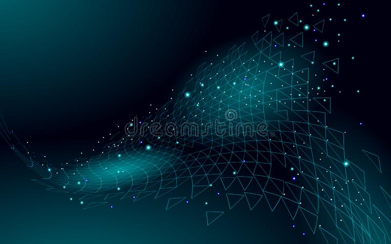 Lage poly 3D donkere ruimte veelhoekig Innovatieve polymeerstructuur De heilige meetkunde van de heelaldriehoek Gegevenstechnolog royalty-vrije illustratie