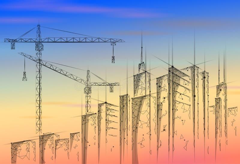 Lage poly de bouw in aanbouw kraanzonsopgang Industriële moderne bedrijfstechnologie Kleurrijke 3D zonsonderganghemel stock illustratie