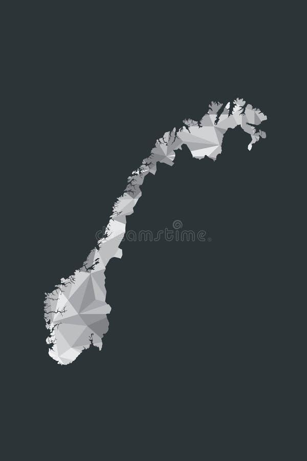 Lage poly de kaartvector van Noorwegen van witte kleuren geometrische vormen of driehoeken op zwarte achtergrond royalty-vrije illustratie