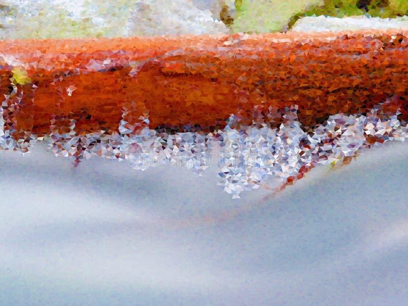lage poly De lange ijskegels hangen boven donker koud water van bergrivier Ijskegels hierboven - water vector illustratie