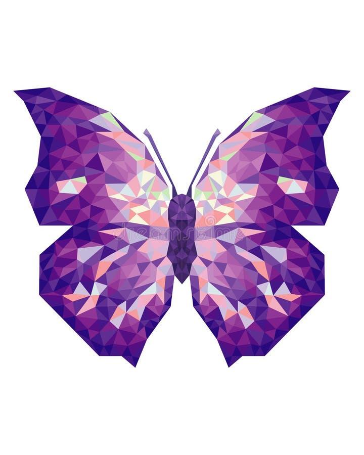 Lage poly geometrische vlinder met driehoeksvormen op vleugels royalty-vrije illustratie