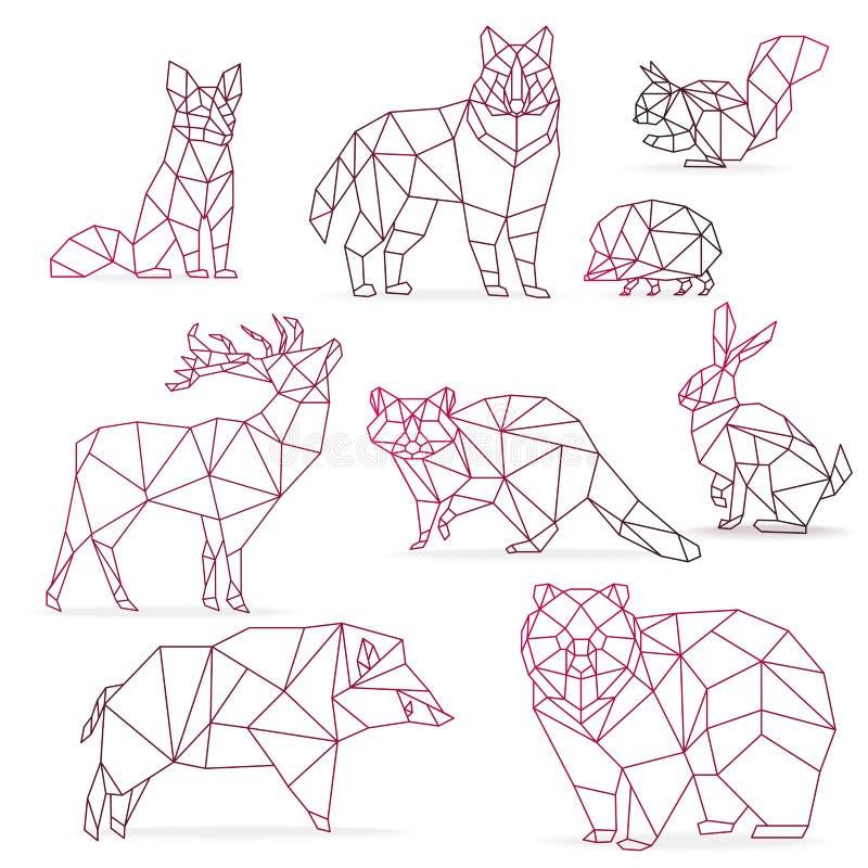 Lage poly geplaatste de lijndieren van de kleurengradiënt Dieren van de origami de veelhoekige lijn royalty-vrije illustratie