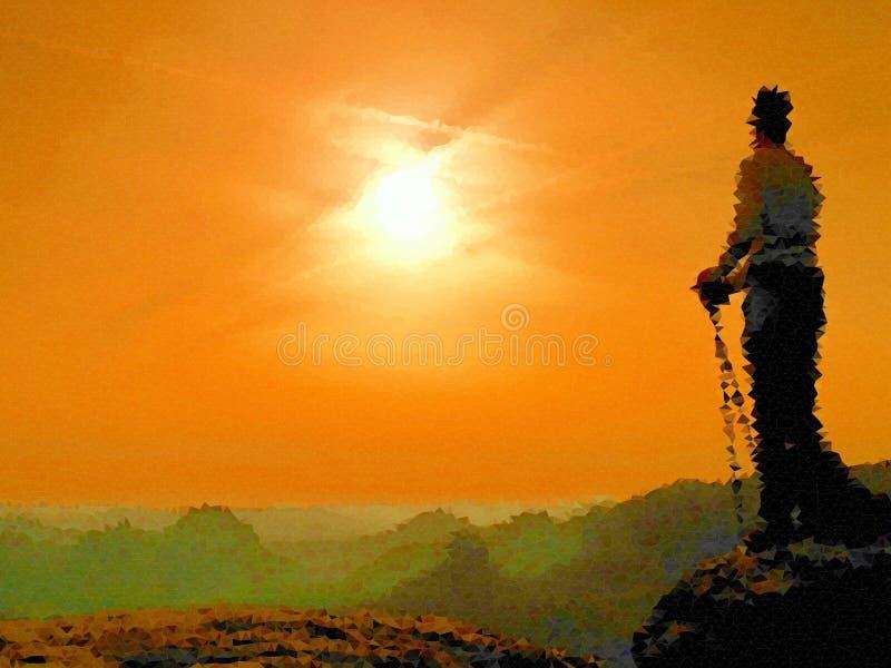 lage poly Het kijken aan horizon Mens op een rots die aan horizon kijken royalty-vrije illustratie