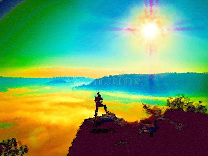 lage poly Het kijken aan horizon Mens op een rots die aan horizon kijken stock illustratie