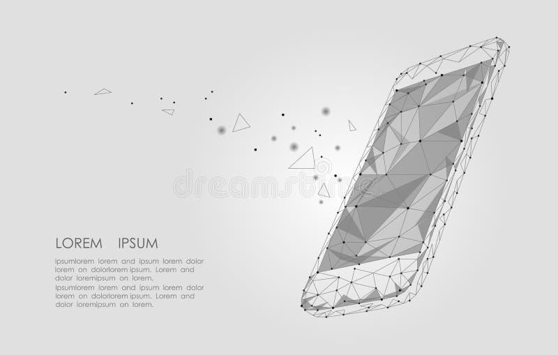 Lage poly het schermvertoning van de smartphone mobiele aanraking Verbonden de punten sterrige hemel van het driehoeks veelhoekig stock illustratie