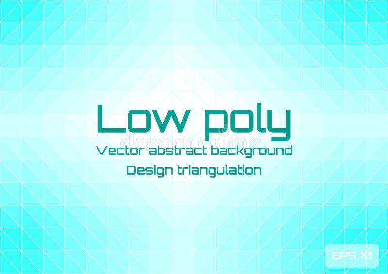 Lage poly lichtblauwe abstracte achtergrond Geometrische triangulering die uit driehoeken met ruimte voor tekst bestaan geweven stock illustratie