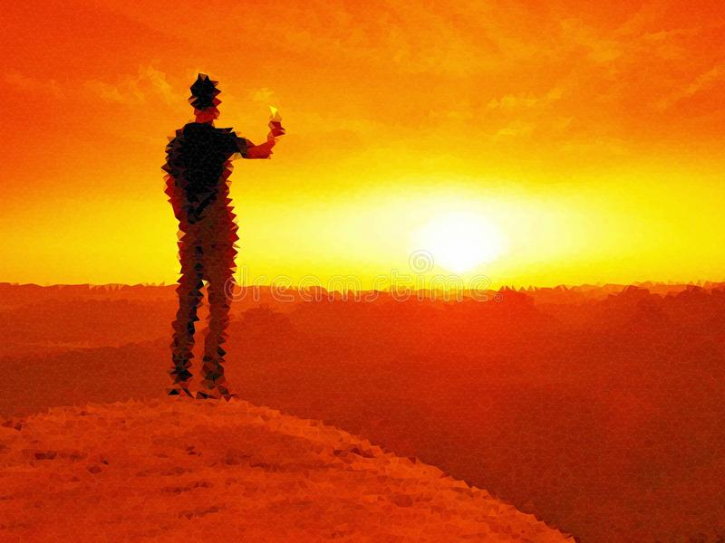 lage poly LLooking aan horizon Mens op een rots die aan horizon kijken vector illustratie