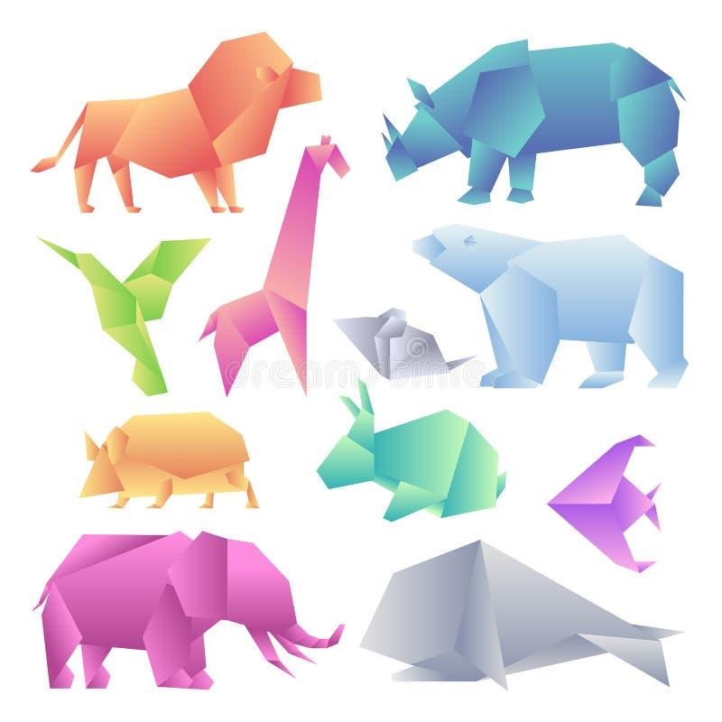 Lage poly moderne geplaatste gradiëntdieren Het document van de origamigradiënt dieren De leeuw, rinoceros, kolibrie, giraf, muis royalty-vrije illustratie