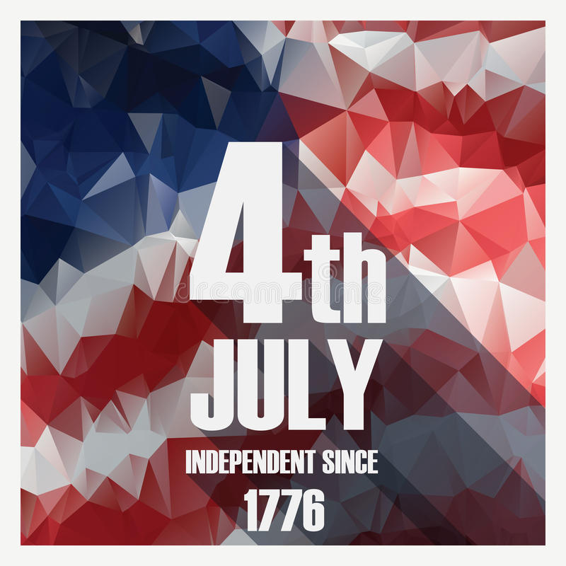 Lage poly moderne het ontwerpaffiche van de onafhankelijkheidsdag Amerikaanse vakantie royalty-vrije illustratie