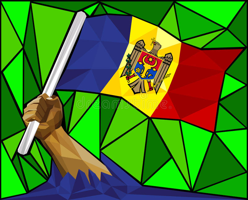 Lage Poly Sterke Hand die de Vlag van Moldavië opheffen royalty-vrije illustratie