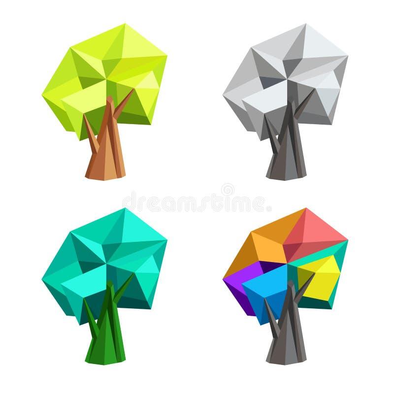 Lage poly veelhoekige boom abstracte vectorillustratie Zonnepaneel en teken voor alternatieve energie vector illustratie